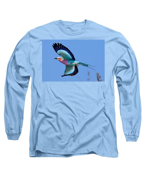 Lilac-breasted Roller In Flight Long Sleeve T-Shirt