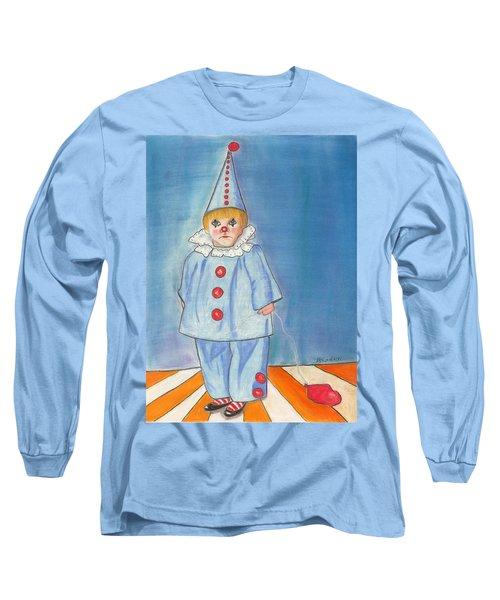 Little Blue Clown Long Sleeve T-Shirt by Arlene Crafton