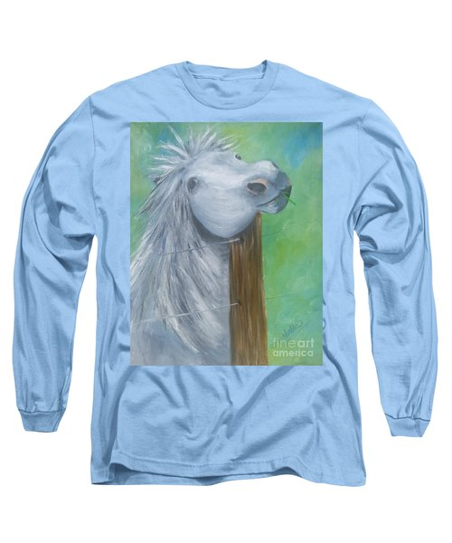Long Sleeve T-Shirt featuring the painting Little Grey Has An Itch by Isabella F Abbie Shores FRSA
