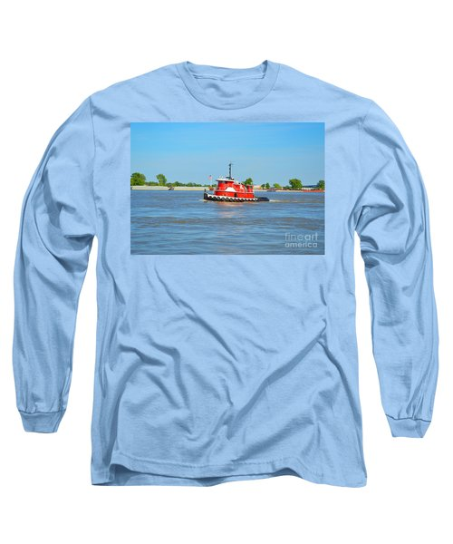 Little Red Boat On The Mighty Mississippi Long Sleeve T-Shirt