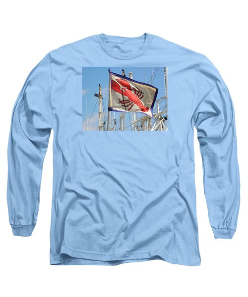 Lobster Flag At The Point Long Sleeve T-Shirt by Mary Carol Williams