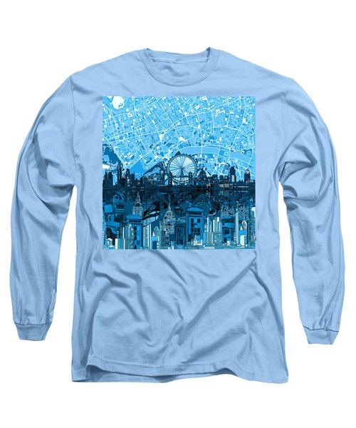London Skyline Abstract Blue Long Sleeve T-Shirt
