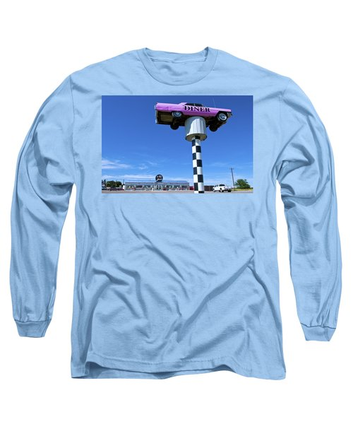 Lonely Diner With Pink Cadillac Long Sleeve T-Shirt