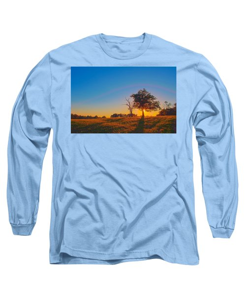 Long Sleeve T-Shirt featuring the photograph Lonely Tree On Farmland At Sunset by Alex Grichenko