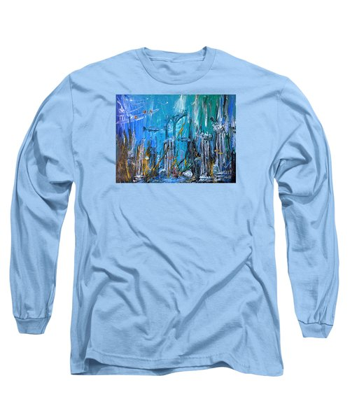 Long Sleeve T-Shirt featuring the painting Lost City by Arturas Slapsys