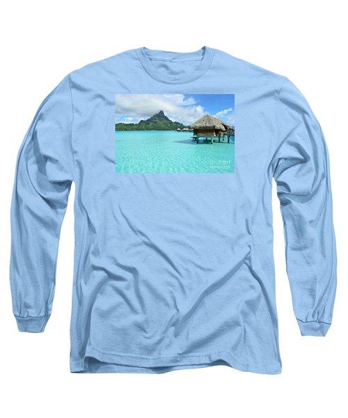 Luxury Overwater Vacation Resort On Bora Bora Island Long Sleeve T-Shirt by IPics Photography