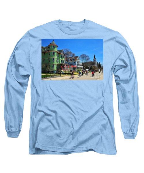Mackinac Island Waterfront Street Long Sleeve T-Shirt by Terri Gostola