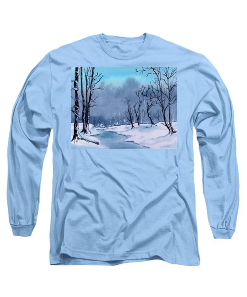 Maine Snowy Woods Long Sleeve T-Shirt