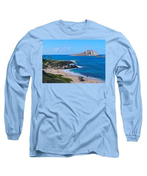 Makapuu Beach With Rabbit Island Long Sleeve T-Shirt