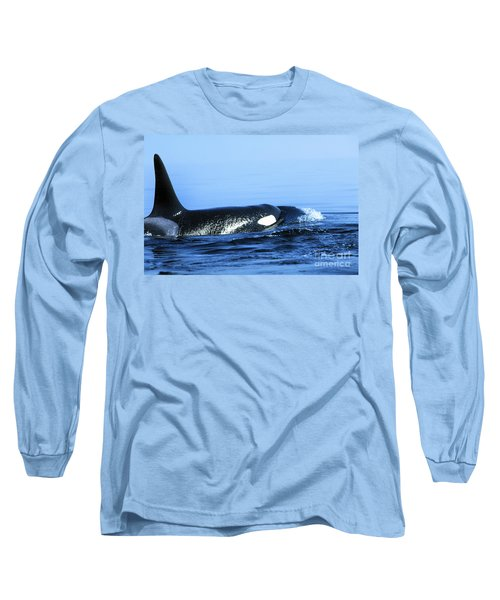 Long Sleeve T-Shirt featuring the photograph Male Orca Off The San Juan Islands Washington 1986 by California Views Mr Pat Hathaway Archives