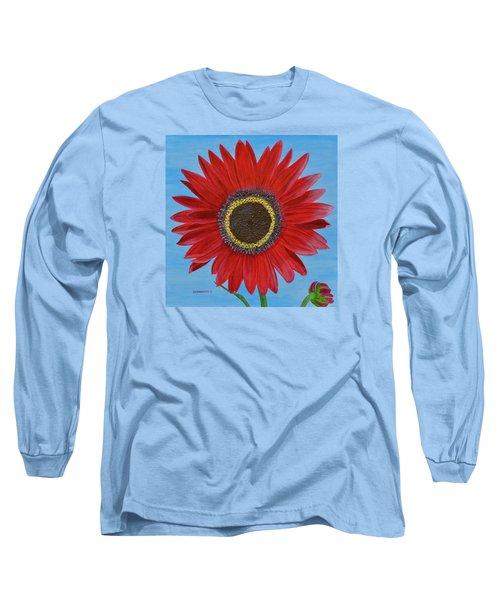 Mandy's Burgundy Beauty Long Sleeve T-Shirt by Donna  Manaraze