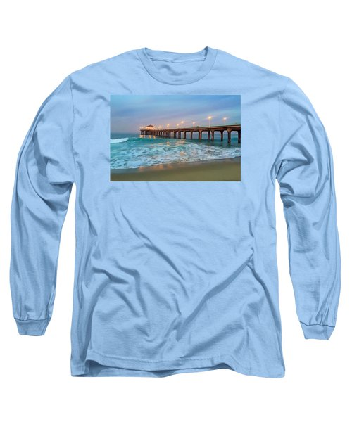 Manhattan Beach Reflections Long Sleeve T-Shirt by Art Block Collections
