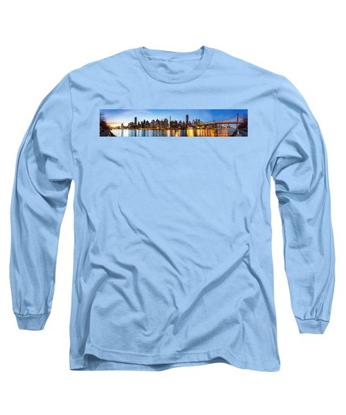 Manhattan Panorama And Queensboro Bridge Long Sleeve T-Shirt