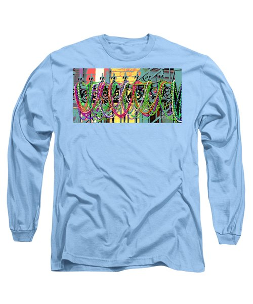 Mardi Gras On Fleur-de-lis Long Sleeve T-Shirt