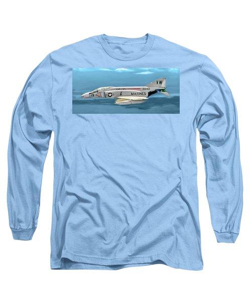 Marine F-4 Phantom  Painting Long Sleeve T-Shirt by Bob and Nadine Johnston