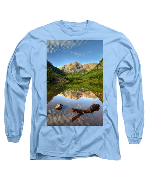 Maroon Bells And Maroon Lake Long Sleeve T-Shirt by Ken Smith