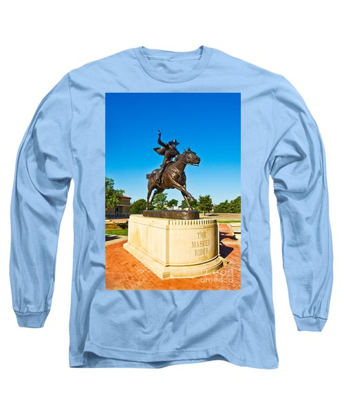 Long Sleeve T-Shirt featuring the photograph Masked Rider Statue by Mae Wertz