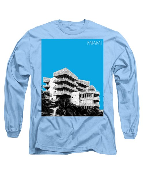 Miami Skyline Art Deco District - Ice Blue Long Sleeve T-Shirt