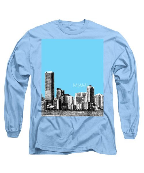 Miami Skyline - Sky Blue Long Sleeve T-Shirt