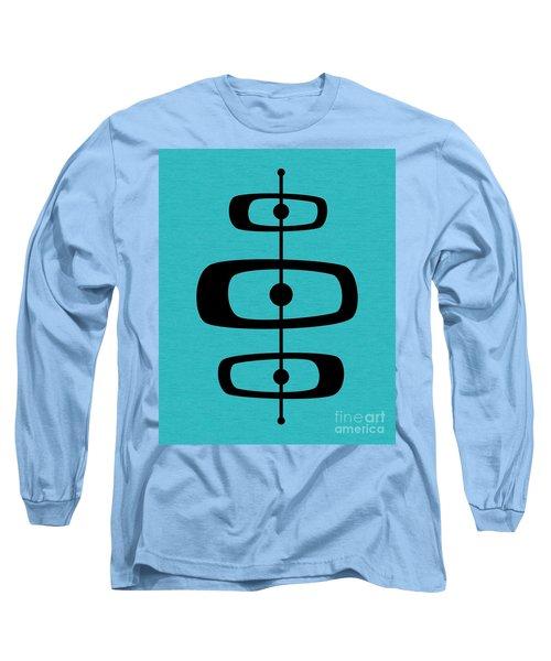 Mid Century Shapes 2 On Turquoise Long Sleeve T-Shirt