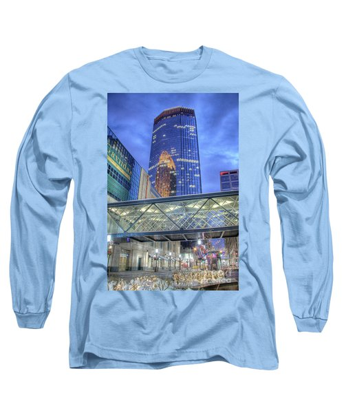 Minneapolis Skyline Photography Nicollet Mall Winter Evening Long Sleeve T-Shirt
