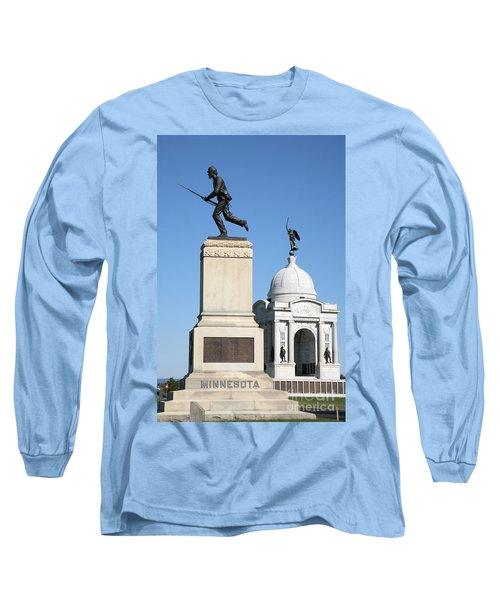 Minnesota And Pennsylvania Monuments At Gettysburg Long Sleeve T-Shirt