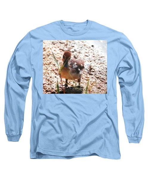 Long Sleeve T-Shirt featuring the photograph Duckling Searching by Belinda Lee