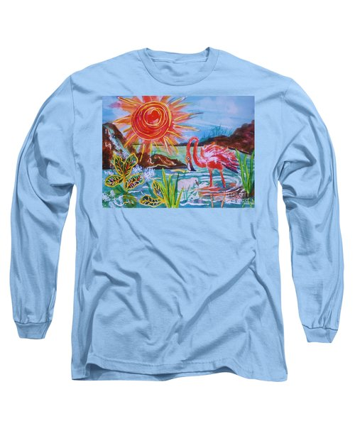 Momma And Baby Flamingo Chillin In A Blue Lagoon  Long Sleeve T-Shirt