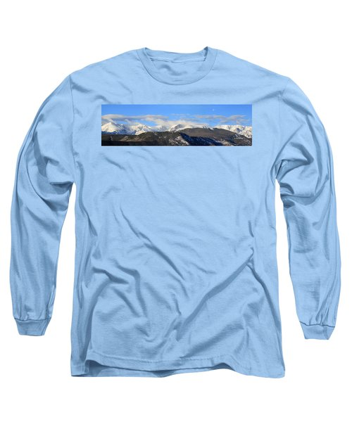 Moon Over The Rockies - Panorama Long Sleeve T-Shirt