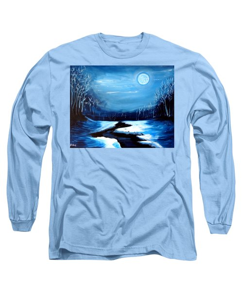 Moon Snow Trees River Winter Long Sleeve T-Shirt
