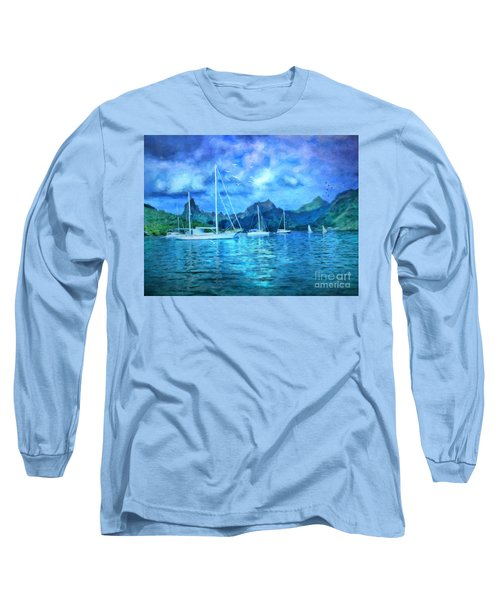Moonrise In Mo'orea Long Sleeve T-Shirt