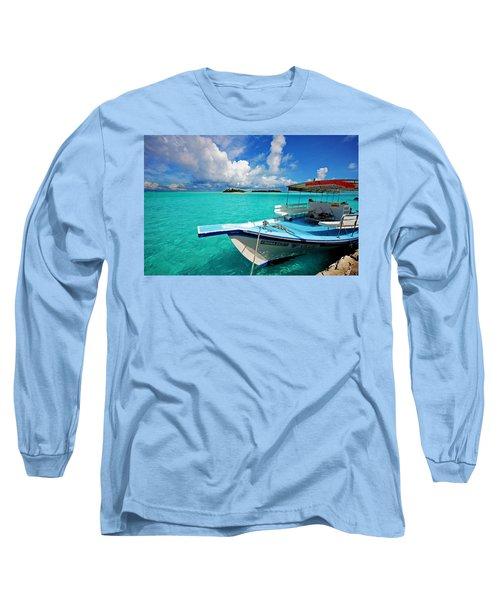 Moored Dhoni At Sun Island. Maldives Long Sleeve T-Shirt