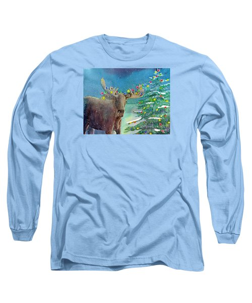 Moosey Christmas Long Sleeve T-Shirt by LeAnne Sowa