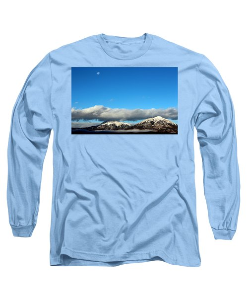 Long Sleeve T-Shirt featuring the photograph Morning Moon Over Spanish Peaks by Barbara Chichester