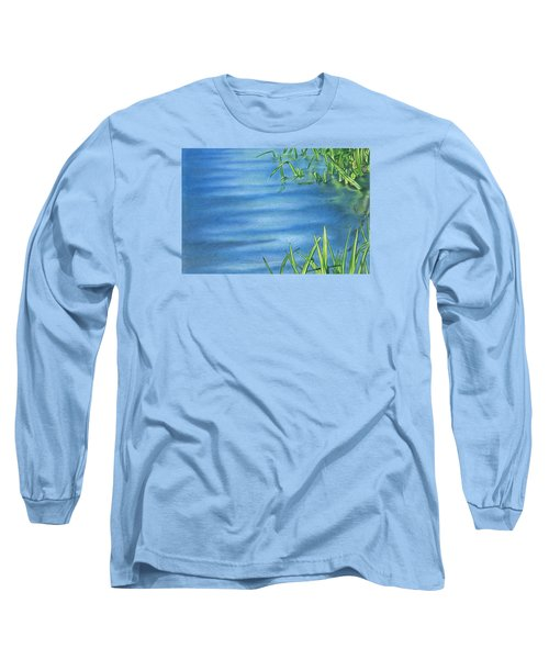 Long Sleeve T-Shirt featuring the drawing Morning On The Pond by Troy Levesque