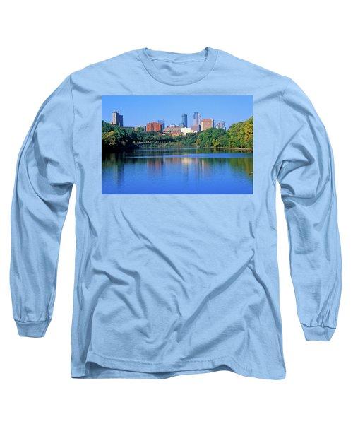 Morning View Of Minneapolis Skyline Long Sleeve T-Shirt