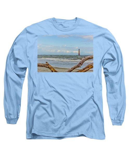 Morris Island Light With Driftwood Long Sleeve T-Shirt