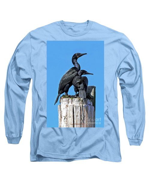 Long Sleeve T-Shirt featuring the photograph Mother And Baby Brandt's Cormorants by Susan Wiedmann