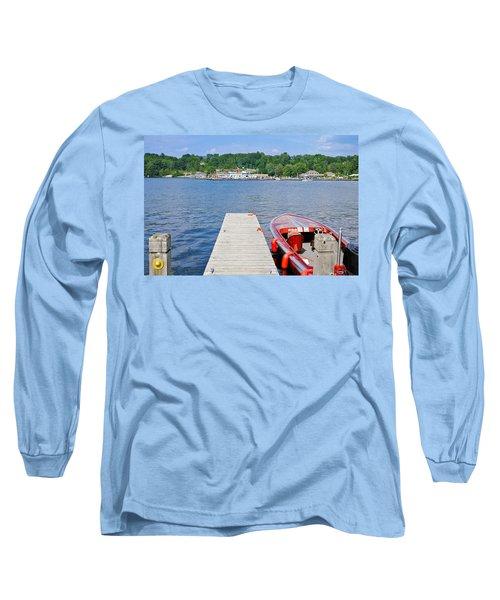Motorboat Moored At A Pier, Gravenhurst Long Sleeve T-Shirt