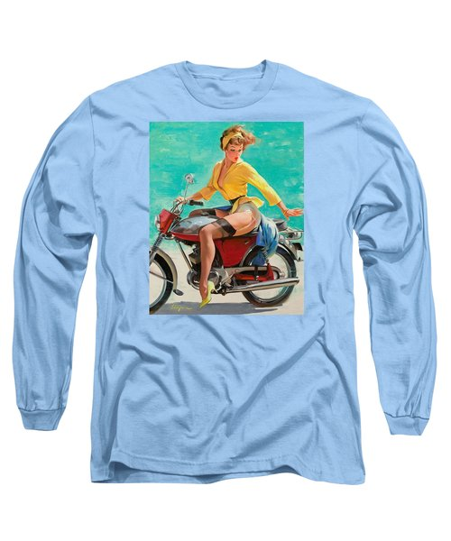 Motorcycle Pinup Girl Long Sleeve T-Shirt by Gil Elvgren