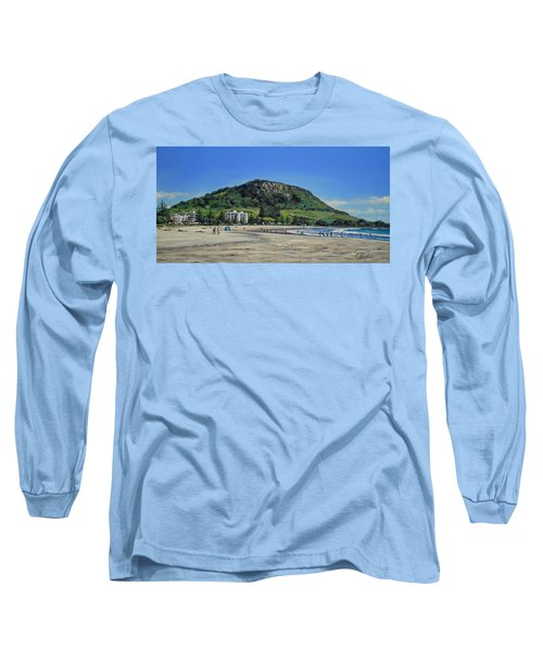 Mount Maunganui Beach 151209 Long Sleeve T-Shirt by Sylvia Kula
