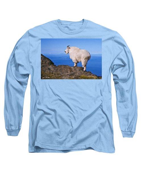 Mountain Goat On Klahane Ridge Long Sleeve T-Shirt by Jeff Goulden