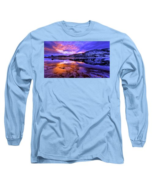 Long Sleeve T-Shirt featuring the painting Mountain Lake Sunset by Bruce Nutting