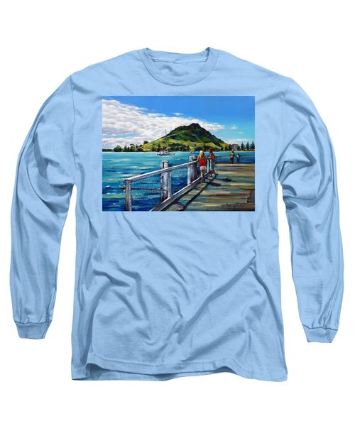 Long Sleeve T-Shirt featuring the painting Mt Maunganui Pier 140114 by Selena Boron