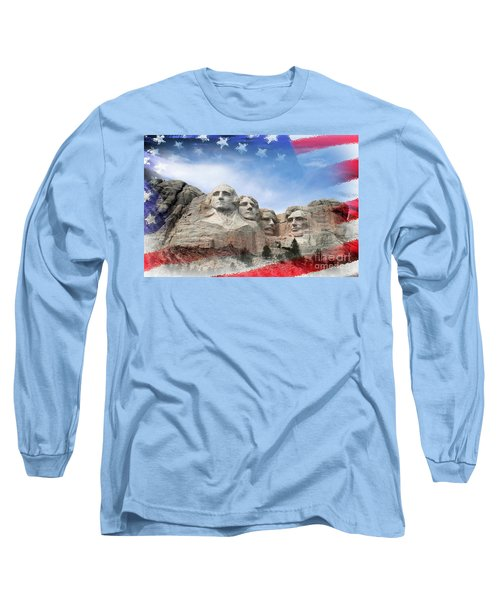 Mt Rushmore Flag Frame Long Sleeve T-Shirt by David Lawson