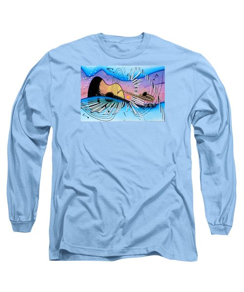 Musica Long Sleeve T-Shirt by Angel Ortiz