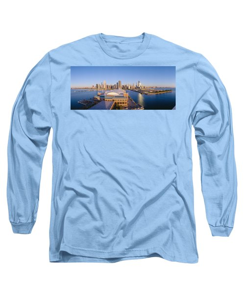Navy Pier, Chicago, Morning, Illinois Long Sleeve T-Shirt by Panoramic Images