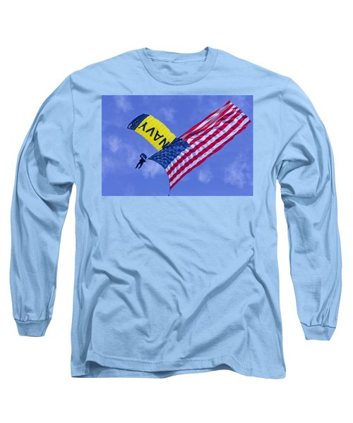 Navy Seal Leap Frogs Us Flag Long Sleeve T-Shirt