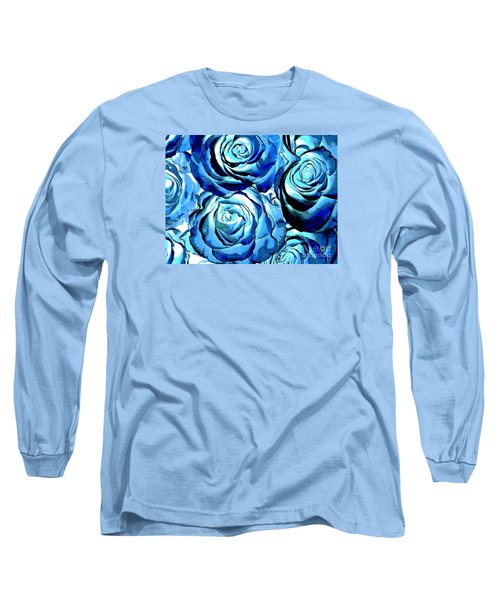 Pop Art Blue Roses Long Sleeve T-Shirt