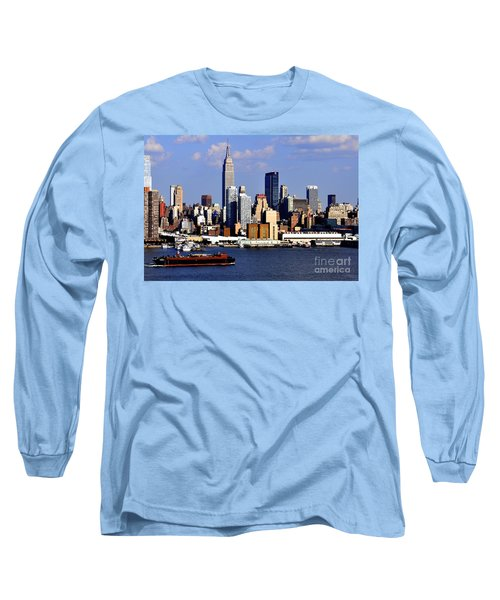 New York City Skyline With Empire State And Red Boat Long Sleeve T-Shirt